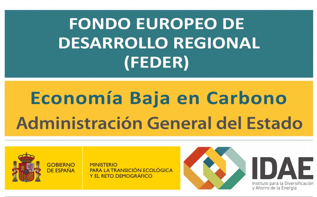 Logo Fondo Europeo de Desarrollo Regional. Economía Baja en Carbono. Administración General del Estado. IDAE