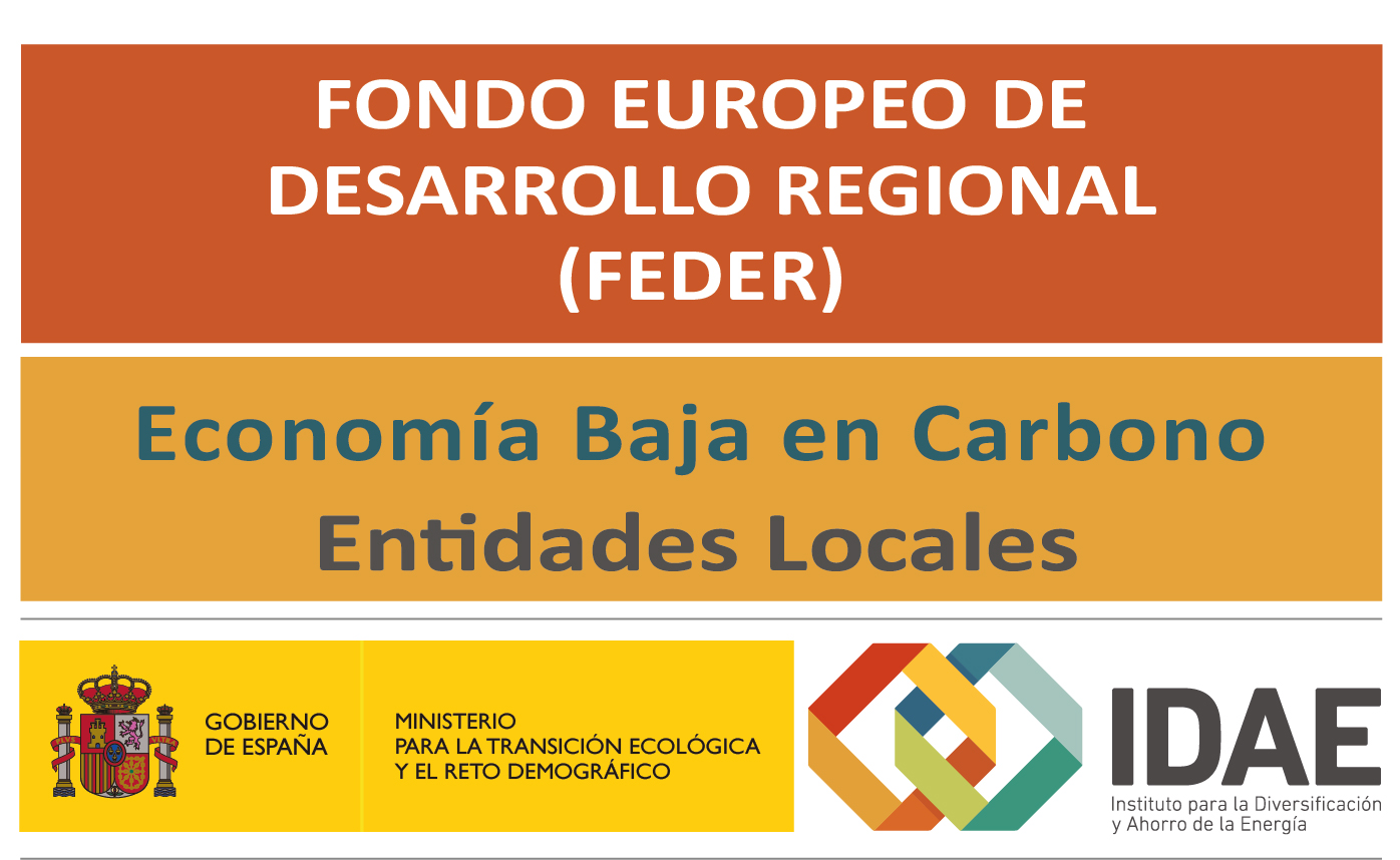 Logo Fondo Europeo de Desarrollo Regional. Economía Baja en Carbono. Entidades Locales. IDAE