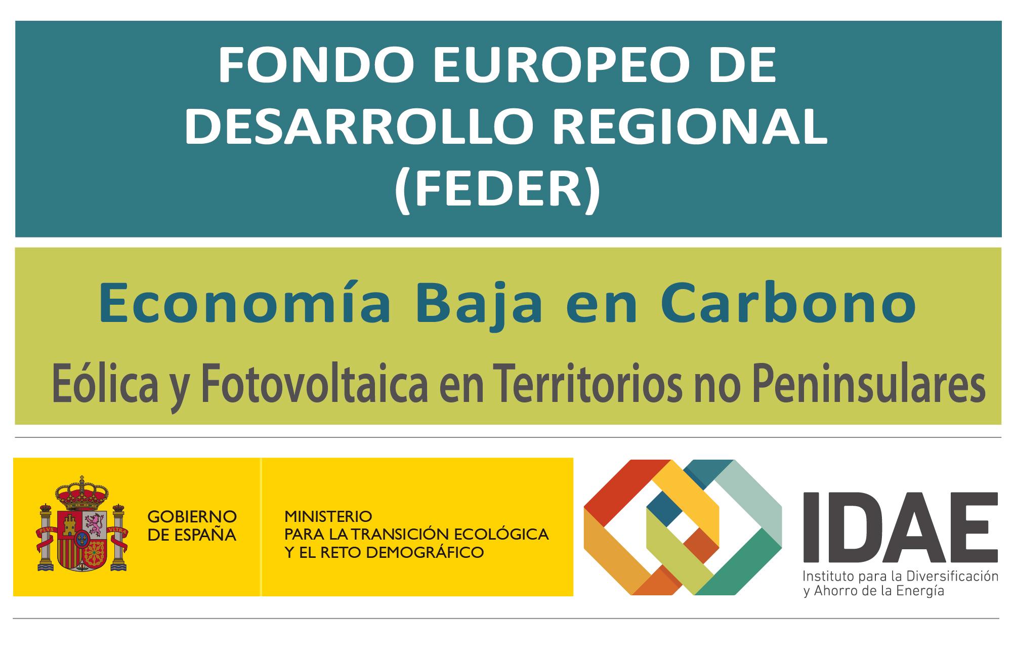 Logo Fondo Europeo de Desarrollo Regional. Economía Baja en Carbono - Eólica y Fotovoltaica en Territorios no Peninsulares